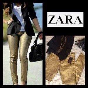 ⭐️Host Pick⭐️ NWT ZARA Gold Metallic Skinny Jeans